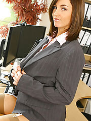 Sex at Work, Melanies perfect figure is flattered by the sexy lingerie under her suit skirt and blouse