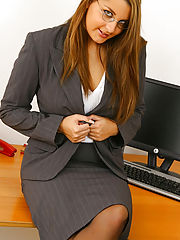 Jenkins peels away her secretary suit after a hard days work