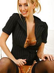 Stunning blonde Hayley Marie undresses from her sexy secretary outfit