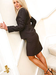 Office Sex, Gorgeous Emma Claire in ther lovely secretary suit with pantyhose on