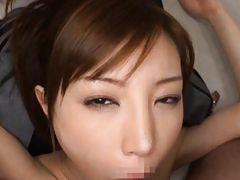 Nasty Asian heart throb Mio sprayed with a hot jizz load