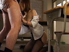 Nagomi Momono sucks her students cock in this teacher sex video