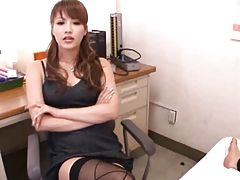 Kaera Uehara Asian teacher gets her stockinged feet kissed