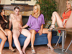 3 hot horny milfs take home their boy toy to tease strip down and play with his cock in these hot clothed female nude male movies