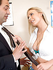 Naughty Office, Blond with big tits begs for extra credit, and some cock.